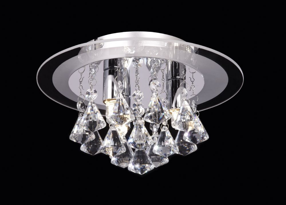 3 Light Flush Fitting With  Glass Backplate & Crystal Drops RENNER-3CH